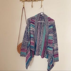 Eyeshadow Colorful Striped Knit Cardigan